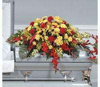 Classic Red and Yellow Casket Spray