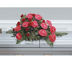 Red Anthurium and Roses Casket Spray