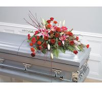 Artistic Red Tribute Casket Spray