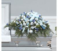 Blue Satin Cross Casket Spray