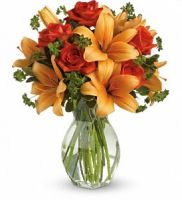 Tangerine  Lilies and Roses