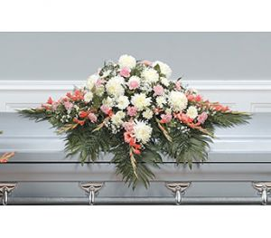 Peach Compassion Casket Spray