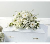 Serenity in White Youth Casket Spray