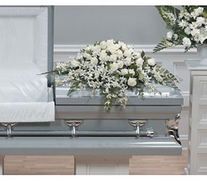 Tender White Casket Spray