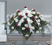 Classic Red and White Casket Spray
